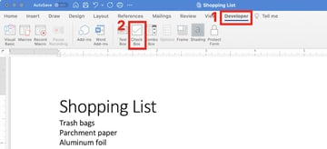how to make a checkbox in word