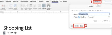 how to create a checkbox in word - share document