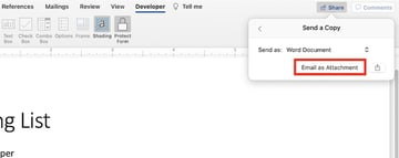 how to create a checkbox in word - send as email