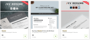 Find attractive CV templates on GraphicRiver
