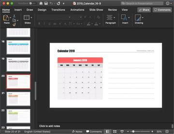PowerPoint Calendar 2019