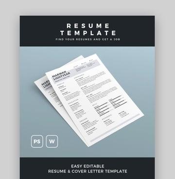 Easily Editable Resume Template for Microsoft Word
