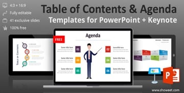 Table of Contents Microsoft PowerPoint Agenda Template Free