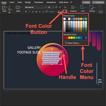 How to change the color of the text