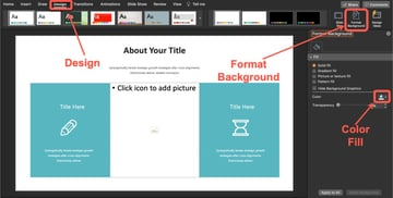 How to change the background color of the slide