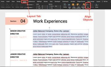 Align text - Resume