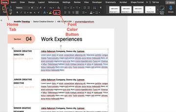 Change Font Color - Resume