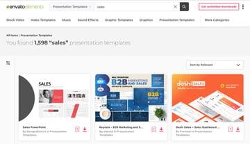 Envato Elements has hundreds of premium sales PowerPoint Templates.