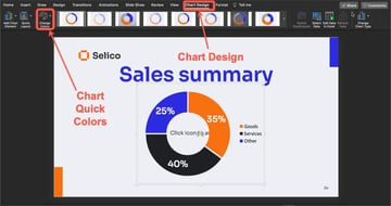 How to change the colors in the graph on your sales presentation PPT.