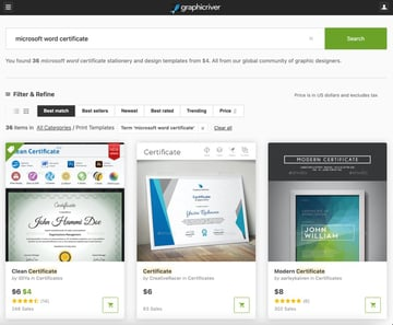 GraphicRiver has hundreds of premium Microsoft Word certificate template.
