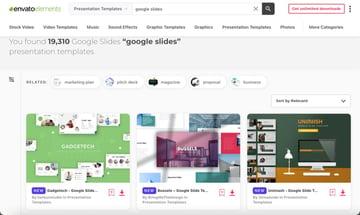 Envato Elements has thousands of Google Slides templates.