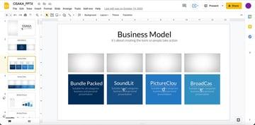 Slide three of the premium template Osaka Business Google Slides.