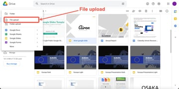 Click on the file upload option to upload your template into Google Slides.