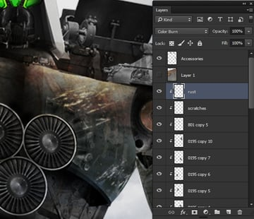 Adding in the rust texture
