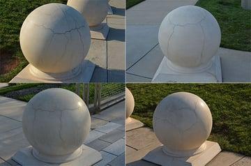 Photos of cracked concrete spheres