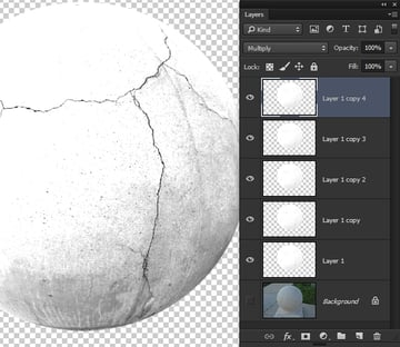 Increase teh cracked appearance by duplicating the layer