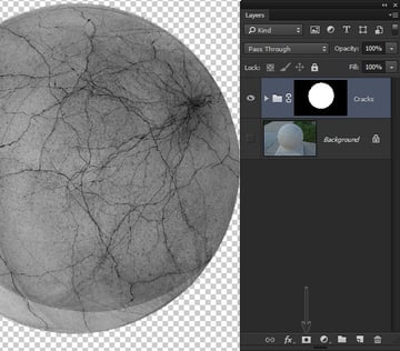 Use a group mask to reform the spherical shape