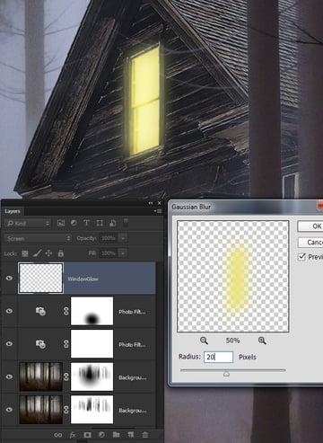 Add a glow to the yellow window