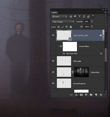 Add a haunting skull image to the shadowy figure