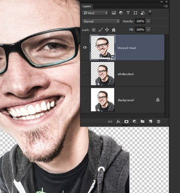 Merge the individual layers into a single Smart Object