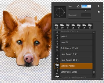 Adjust brush size for background painting