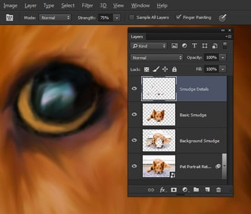 Finger Paint the eye details