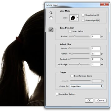 Use Refine Edge to craft a better selection around the hair