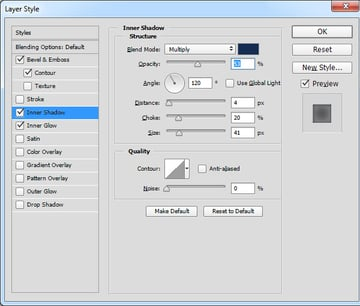 Inner Shadow Layer Style settings