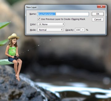 Add a HueSaturation adjustment layer clipped to the child layer