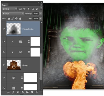 Add some dark areas behind teh fire image