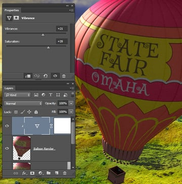 Enhance the balloon colors with a Vibrance adjustment layer
