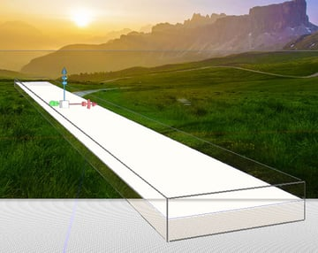 Rotate and scale the box to be a roadway