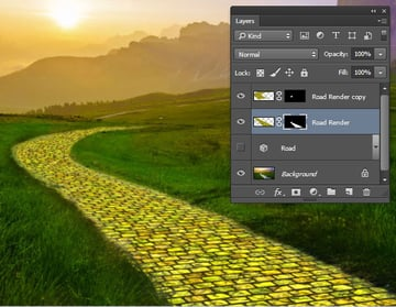 Use layer masks to fit the yellow road to the path in the photo
