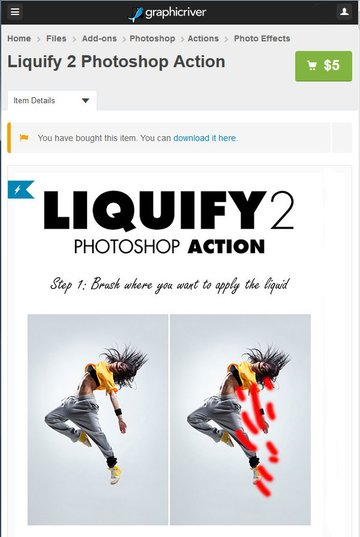 Purchase and download the Photoshop Action