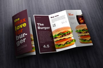 Trifold menu with written copy