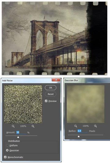 Finish the grain effect with noise blur and blending mode