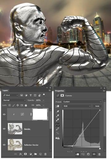 Use curves to darken the render layer