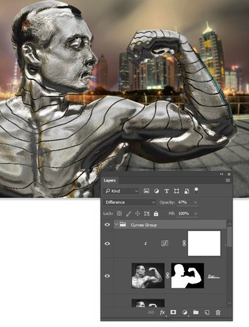 Create a group and set the blending mode to difference and opacity to 47