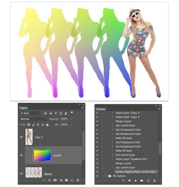 Clip the color gradient to the clones layer