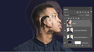 Create a head layer turn to a Smart Object and scale down