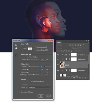 Create a selection around the head layer
