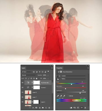 Reduce the saturation of the yellow background with a HueSat adjustment layer