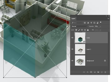 Copy a cube layer onto the room to use as a reference