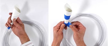 Create a paper funnel and attach it to the tube