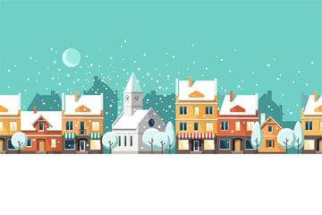 Winter Town Urban Winter Landscape