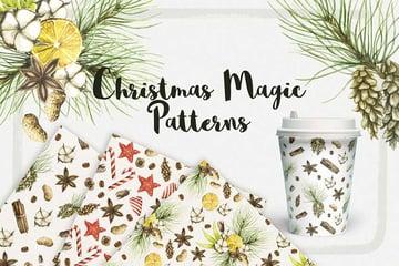 Watercolor Christmas Magic Patterns