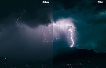 LUT preset before and after showing a lightning strike