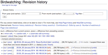 MediaWiki article revision history