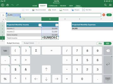 Excel for iPad keyboard