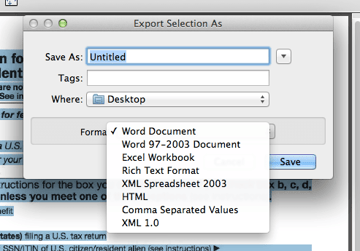 Export PDF or image in Word format from Acrobat